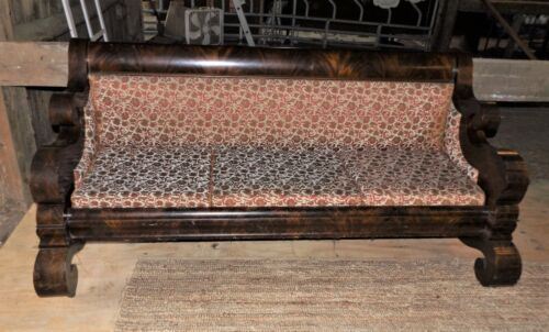 Empire Antique Flame Mahogany Sofa, Reupholstered, Original Owners 1857 Picture