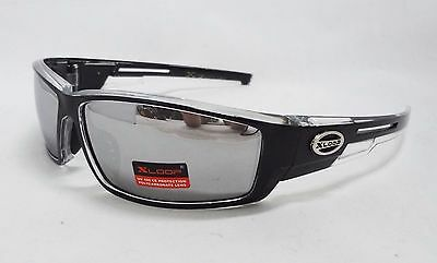 Xloop Sunglasses CLEAR & BLACK Silver Mirror Tint Lens Unisex Men Sport New