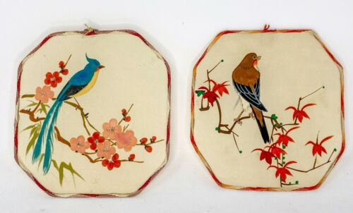 """Lot of 2 - 6"""" Vintage Stretched Fabric Hand-Painted Wall Art Bird Picture(Small)"""