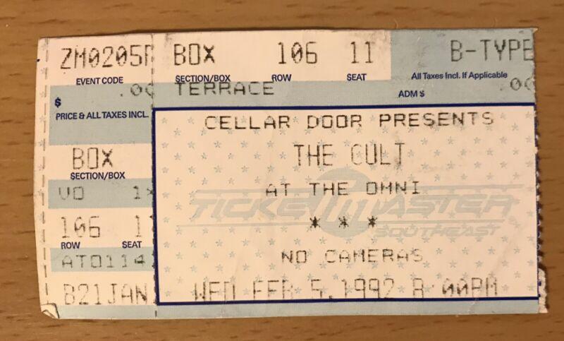 1992 THE CULT / LENNY KRAVITZ ATLANTA CONCERT TICKET STUB CEREMONIAL STOMP TOUR