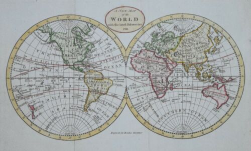 A NEW MAP OF THE WORLD FOR BROOKES GAZETTEER, 1791.