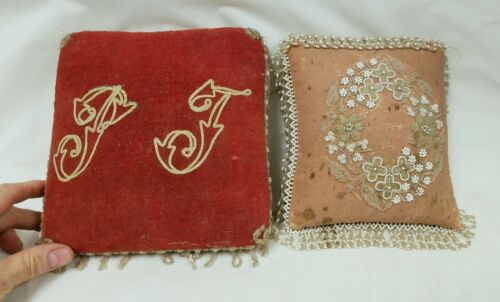 2 Antique Beaded Pin Cushion Pillows as is
