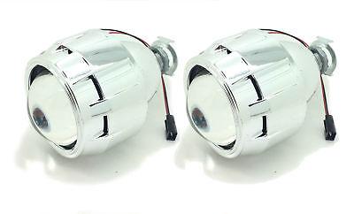 2 x Bi-Xenon HID Mini Retrofit Projectors Lens H1 bulbs Shroud LED universal