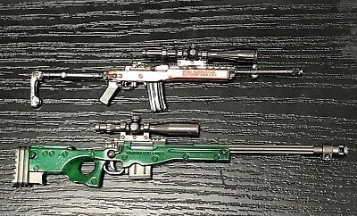 "PUBG-GH: 1/12 scale diecast metal toy guns (AWM & mini14) for 6"" action figures"