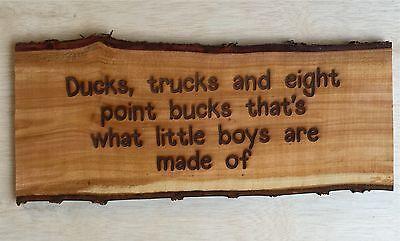 Laser Engraved Tree Log Slice Rustic Man Cave Kids Room Ducks Sign Wood Decor