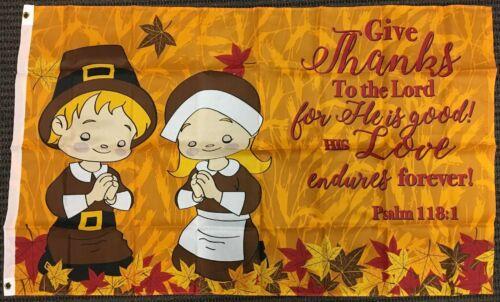 3x5 Give Thanks Thanksgiving Prayer Psalm 118:1 Flag Pilgrims Outdoor Banner New
