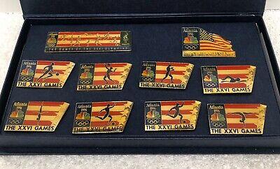 1996 Atlanta Olympic NBC Media Pins, Set Of 10 In Presentation Case Atlanta 1996 Olympics Pin