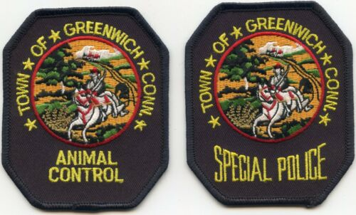 GREENWICH CONNECTICUT CT ANIMAL CONTROL & SPECIAL POLICE 2 patches POLICE PATCH