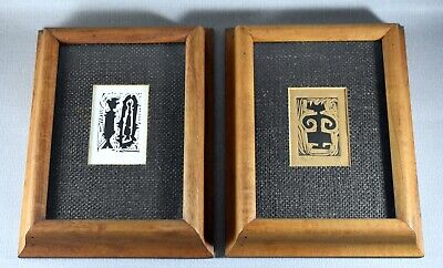 TWO VINTAGE ORIENTAL ASIAN ABSTRACT WOODBLOCK PRINTS