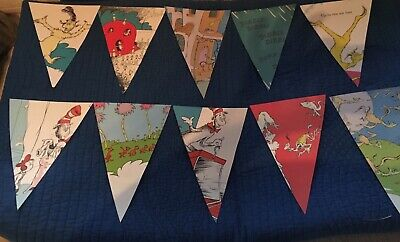 Dr. Seuss banner triangle handmade book pages and cardstock