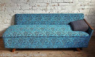 50er 60er Jahre Sofa Couch 3 Sitzer Stoff neu blau Mid Century Rockabilly