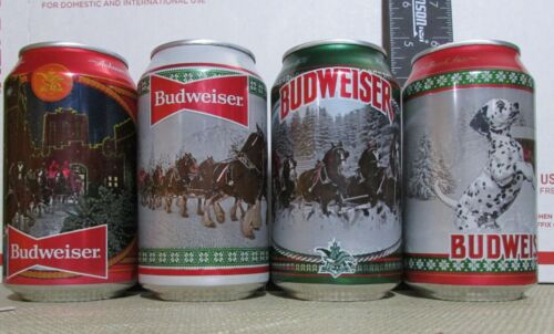 CHRISTMAS 2020 Budweiser LIMITED empty 12oz 4 beer cans LOT DALMATION holiday