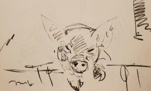 JOSE TRUJILLO - Original Charcoal Paper Sketch Drawing 11X17 LITTLE PIG ANIMAL
