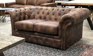 100% LEATHER CHESTERFIELD 2 SEATER - 80% OFF RRP Epping Whittlesea Area Preview