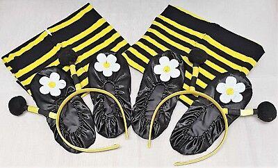 EF 2x Honigbiene Set 140-152 Zubehör Kinder 3tlg Strumpfhose Haarreif - Honig Biene Kostüm Set
