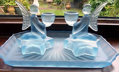 Art Deco Frosted Blue Glass Angel Dressing Table Set -  Nemsova