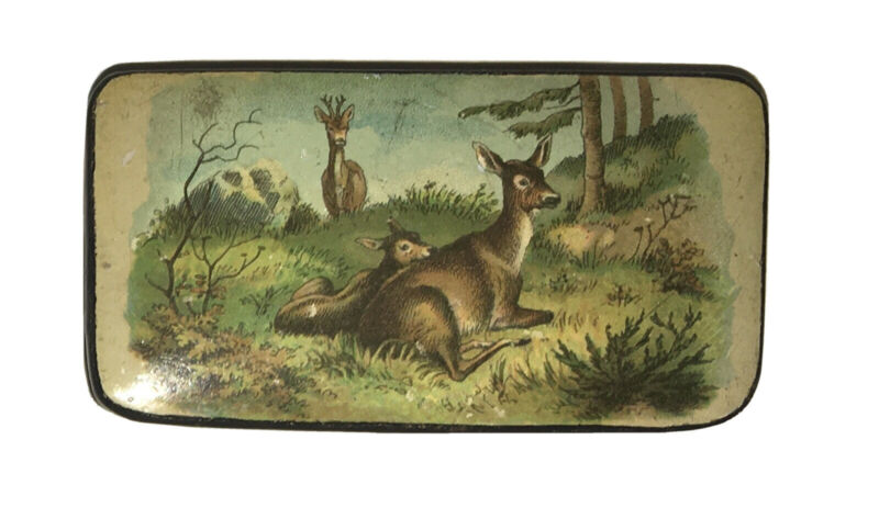 Antique Early 1800s Paper Mache Snuff Box Deer Doe Fawn Stag Buck