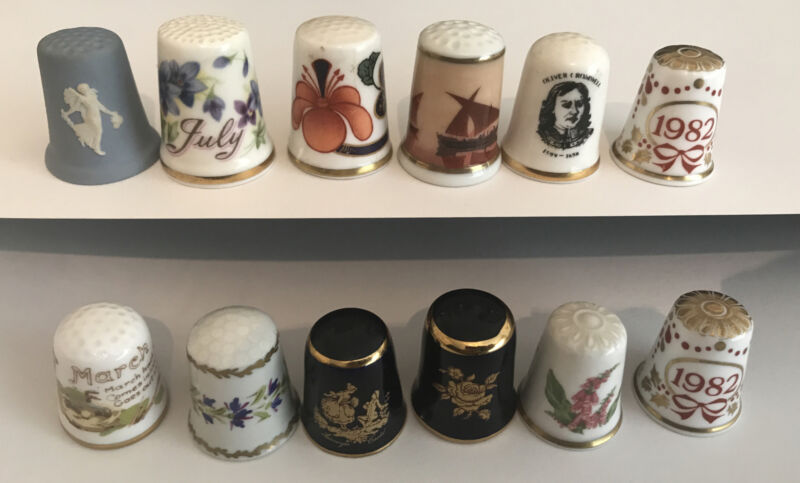 Named good quality thimbles-12 assorted-Spode, Caverswall, Limoges, Royal Albert