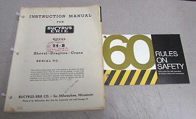 Bucyrus-erie Model 54-b Shovel Dragline Crane Instruction Service Manual