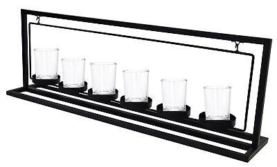 Metall Kerzenhalter 57cm inkl. 6x Teelichthalter Glas - Windlichtglas Kerzen