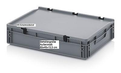 Kunststoff Stapel Behälter mit Scharnierdeckel 60x40x13,5 für Aufbewahrung Umzug