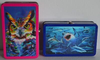 Find It 3D Sharks Owl Royce Supply Pencil Metal Tin Box School Supplies