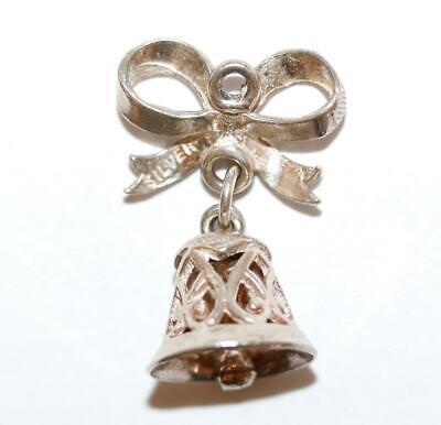 Moving Wedding Bell, Heart Detail Sterling Silver Vintage Bracelet Charm 2.3g Heart Silver Bell