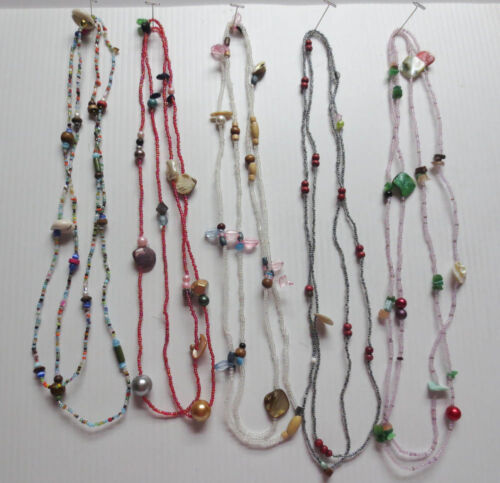 """LOT OF 5 MOTHER OF PEARL GLASS WOOD PLASTIC BEAD CONTINUOUS NECKLACES 52"""" L55"""