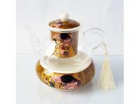 Valentines Gift / Gustav Klimt Glass Teapot with Infuser and Tea Warmer / BARGAIN!!