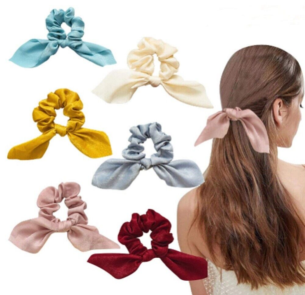 6 Pcs Satin Scrunchies Elastic Hair Band Bow Hair Scarf Girl Hair Tie Hair Rope Clothing, Shoes & Accessories