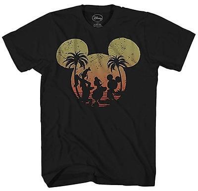 Disney Mickey Donald Duck Goofy Sunset World Men's Adult Graphic T-shirt Tee - Adult Disney Shirts