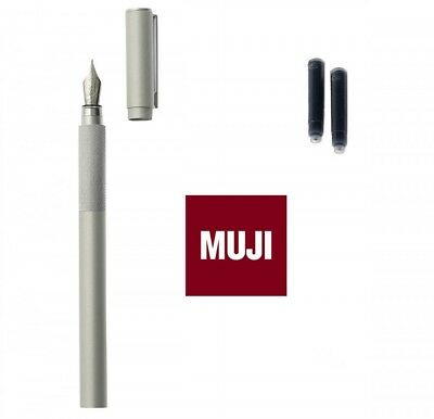 MUJI Aluminum Body Fountain Pen Fine Nib with 2 Refill Ink Cartridge Set Japan