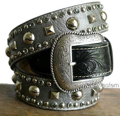 Rhinestone Stud Belt (Nocona Western Mens Belt Leather Tooled Studs Rhinestones Grey N2509801)
