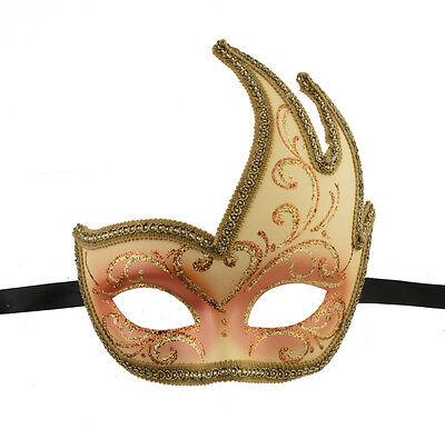 Mask from Venice Colombine Swan Lilou Orange Golden Gala 1147 V57