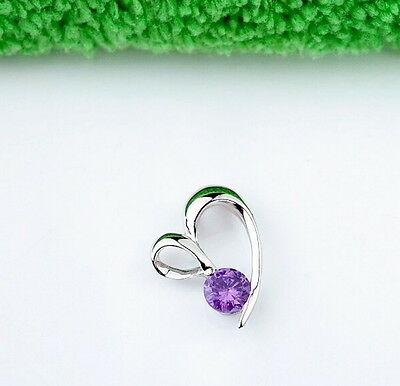 Women White Gold Plated 925 Sterling Silver Hearts Amethyst Pendant Necklace Fashion Jewelry