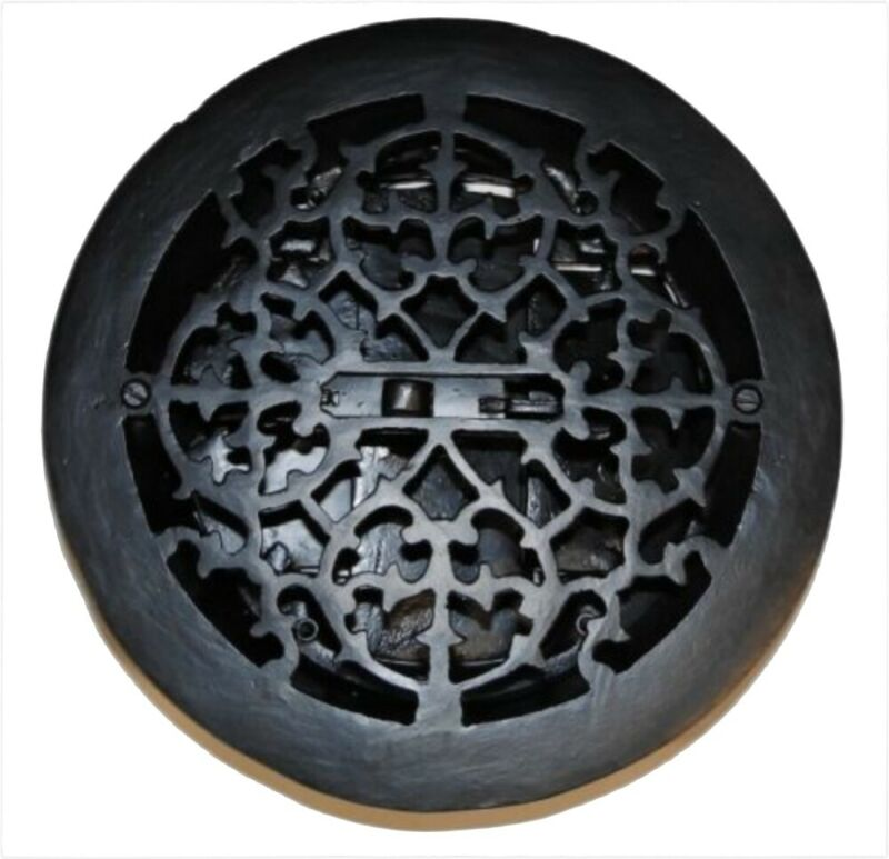 Round Cast Iron Floor Register Heat Grate Vent Antique Style Replica Louvered