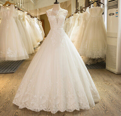 Custom Made Plus Size Sleeveless Tulle Lace Appliques Wedding Dresses Bride Gown