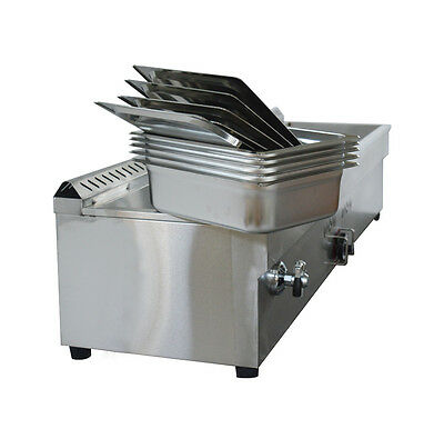 5-pan Lpg Gas Bain-marie Buffet Food Warmer Steam Table 56inch