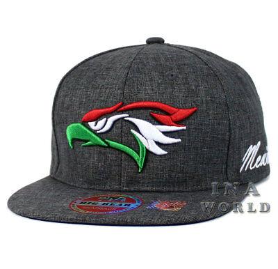 Mexican hat Hecho En Mexico Eagle Twill Snapback Flat bill Baseball cap- D. gray