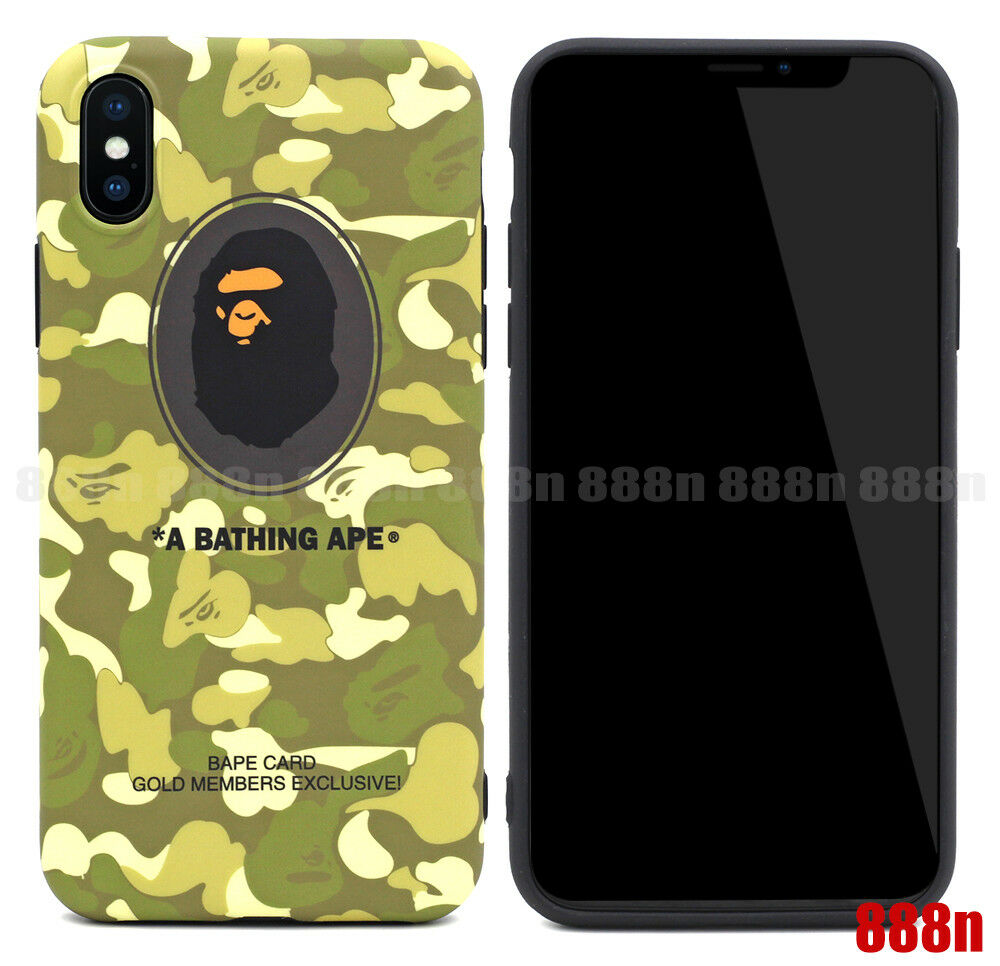 brand new 19eb6 63247 A Bathing Ape Bape Card Camo Gold Members Phone Case For iPhone X 8 ...