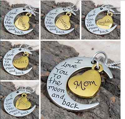 Moms Gift I Love You To The Moon And Back Silver Gold Necklace Charm Pendant