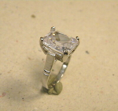 Ladys Womens Rhodium Plated Large Square Cz Solitaire Ring 7 25 Free Shipping