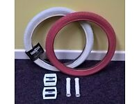 White and Pink BMX Tyres, Pedals and Handlebar Grips