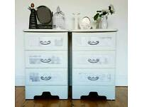 Two Beautiful French Paris Shabby Chic Bedside Tables Storage Units Furniture