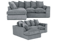 DYLAN JUMBO CORD GREY 3+2 OR CORNER SOFA | SWIVEL CHAIR | EXPRESS DELIVERY ALL UK