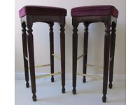 2 Vintage breakfast bar stools carved wood kitchen stools chair