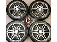 """17"""" Gen AMG Merc C Class staggered alloys refurb anthracite/red excel tyres."""