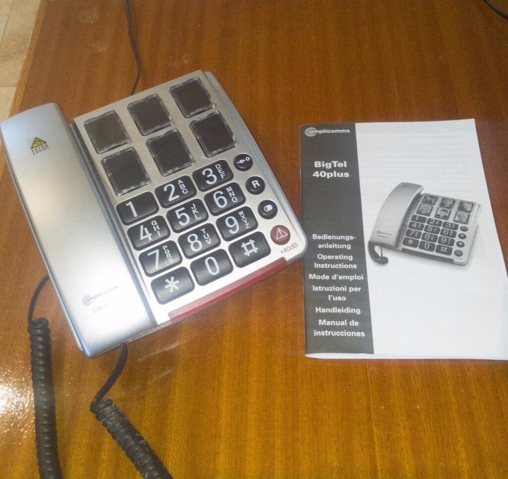 amplicomms bigtel 40 plus  Amplicomms BigTel 40 Plus Big Button telephone suitable for elderly ...