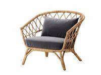 NEW - IKEA Armchair with Dark Grey Velvet cushion STOCKHOLM 2017 Rattan/Wicker/ Bamboo