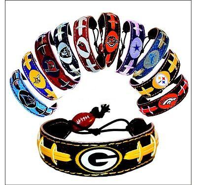 NFL-Team Color Leather Football Bracelet - Pick Team Team Color Leather